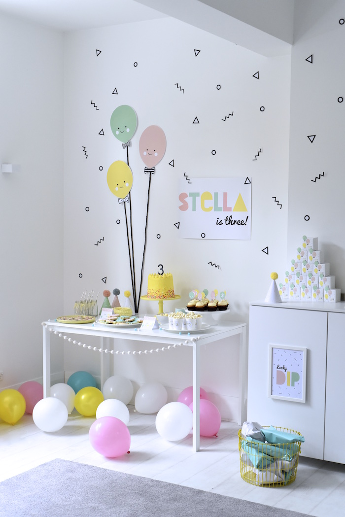 Party setup from a Happy Balloons Birthday Party via Kara's Party Ideas KarasPartyIdeas.com (2)