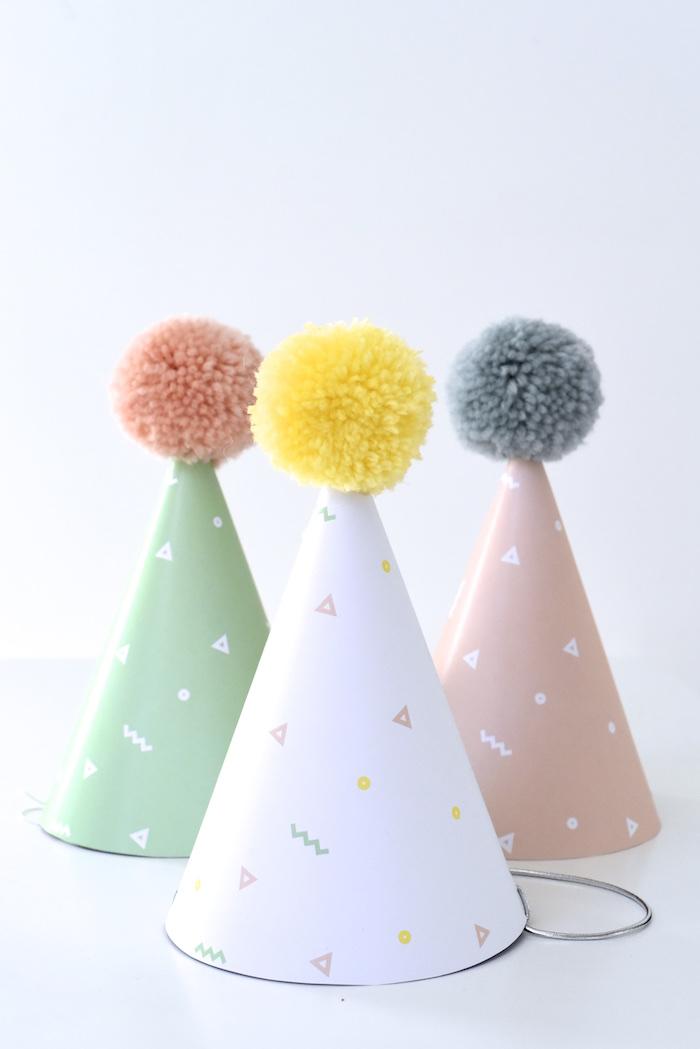 Pom pom party hats from a Happy Balloons Birthday Party via Kara's Party Ideas KarasPartyIdeas.com (27)