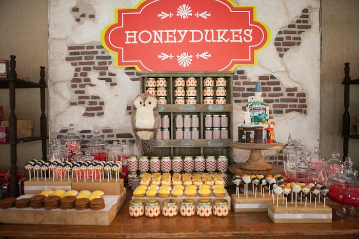 Honeydukes dessert table from a Harry Potter Birthday Party via Kara's Party Ideas | KarasPartyIdeas.com (39)