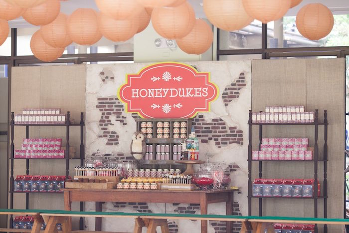 Honeydukes dessert table from a Honeydukes Hogwarts & Harry Birthday Party via Kara's Party Ideas | KarasPartyIdeas.com (26)