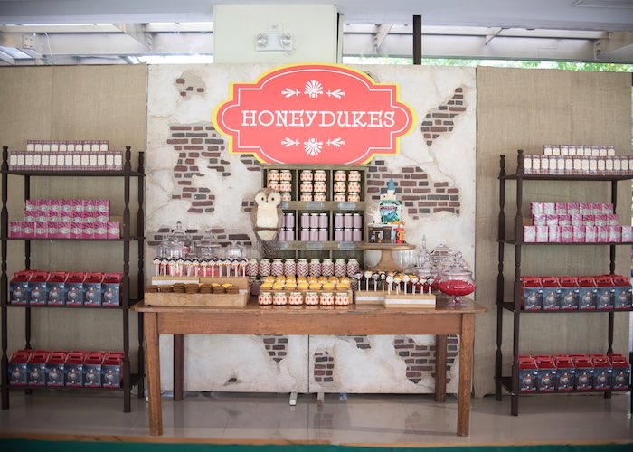 Honeydukes dessert table from a Harry Potter Birthday Party via Kara's Party Ideas | KarasPartyIdeas.com (23)