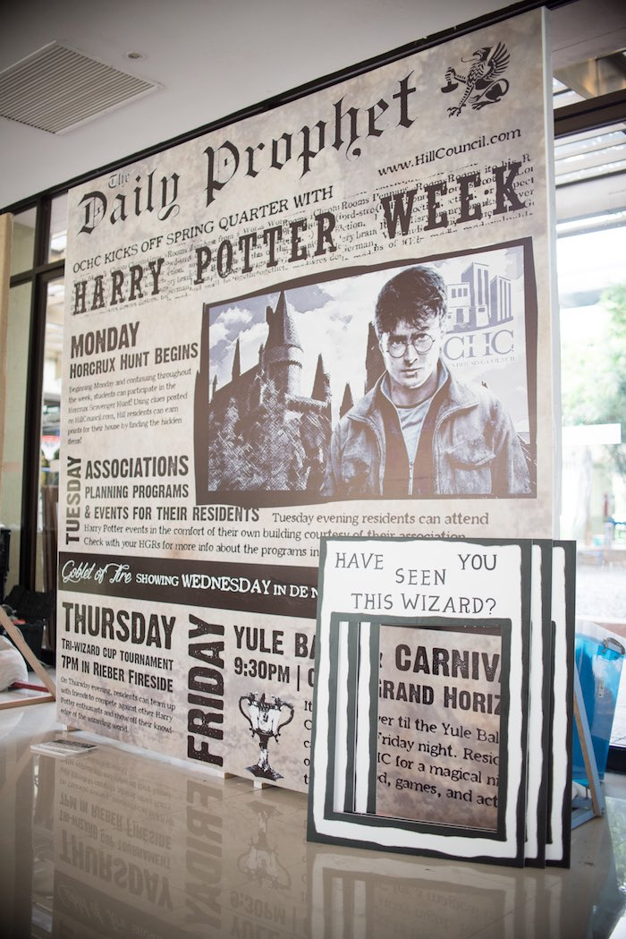 Newspaper photo backdrop from a Honeydukes Hogwarts & Harry Birthday Party via Kara's Party Ideas | KarasPartyIdeas.com (21)