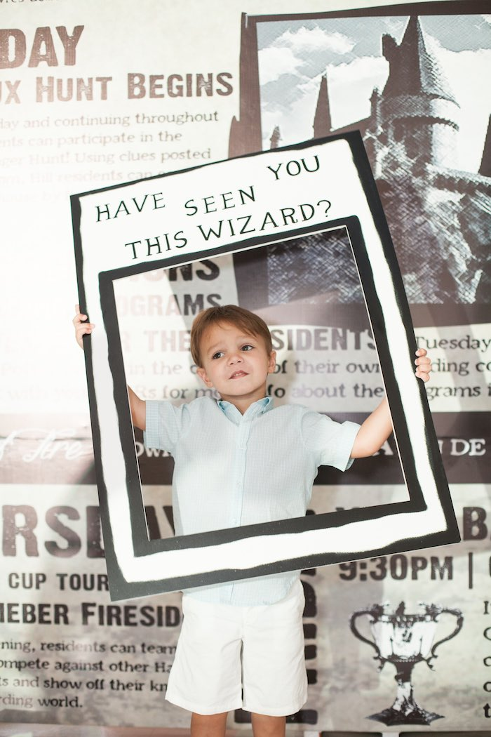 Photo op from a Honeydukes Hogwarts & Harry Birthday Party via Kara's Party Ideas | KarasPartyIdeas.com (11)