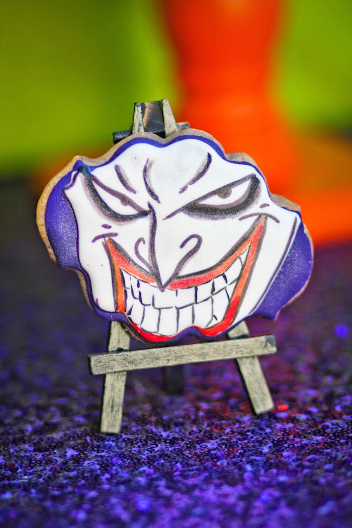 Joker cookie from a Joker Inspired Mad Love Birthday Party via Kara's Party Ideas | KarasPartyIdeas.com - The Place for All Things Party! (60)