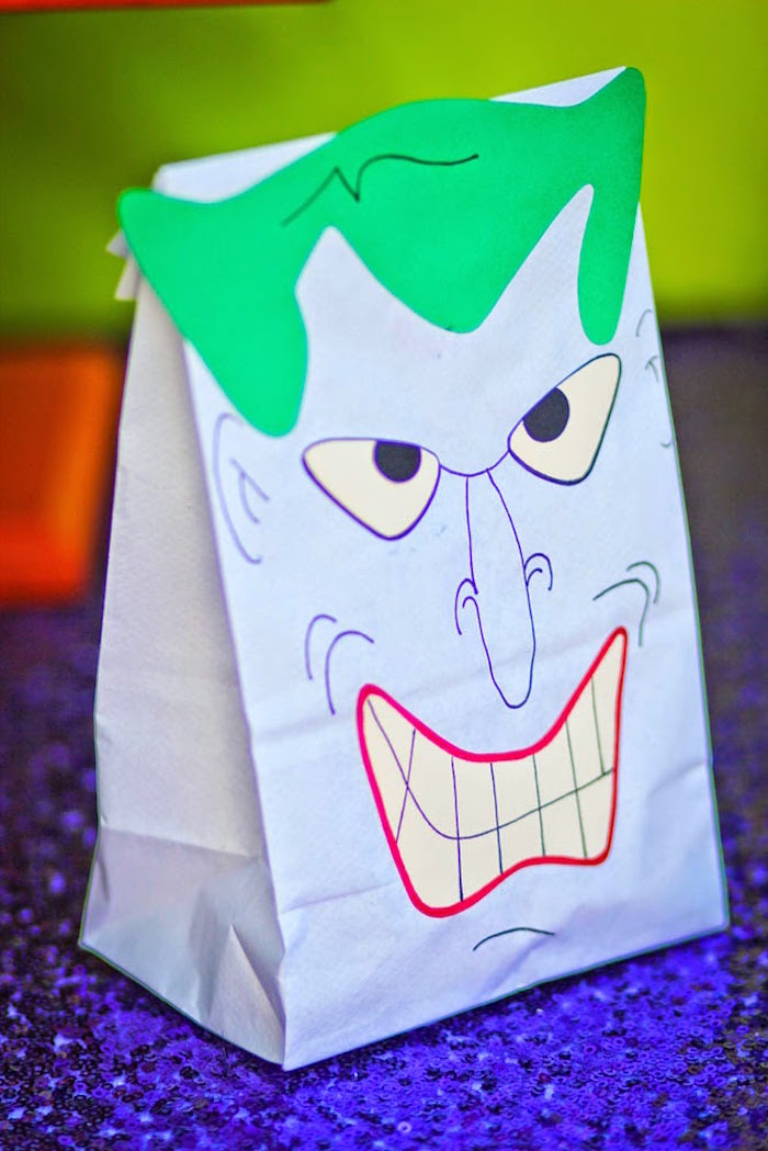 Joker favor sack from a Joker Inspired Mad Love Birthday Party via Kara's Party Ideas | KarasPartyIdeas.com - The Place for All Things Party! (57)