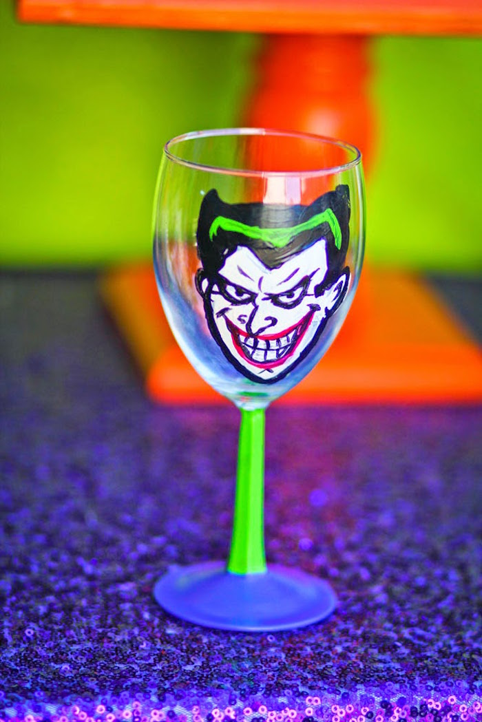 Joker drink cup from a Joker Inspired Mad Love Birthday Party via Kara's Party Ideas | KarasPartyIdeas.com - The Place for All Things Party! (56)