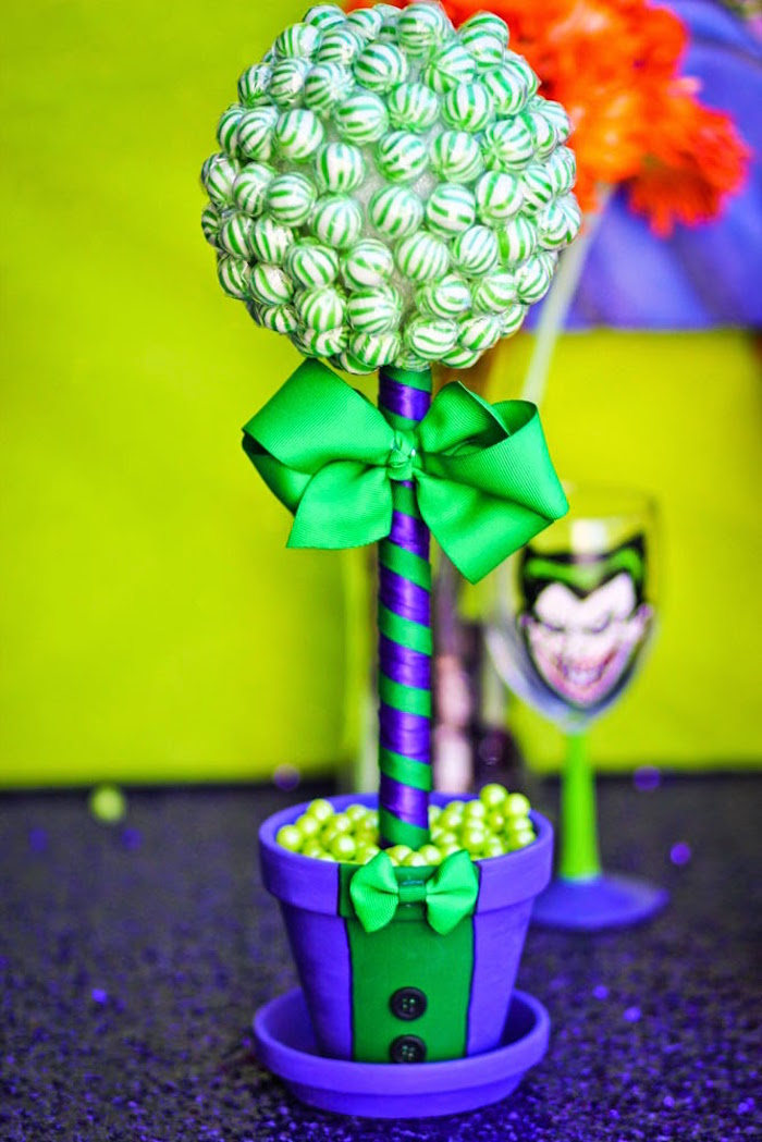 Mint Candy Topiary From A Joker Inspired Mad Love Birthday Party Via Karas Ideas