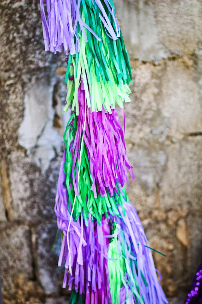 Balloon tassel from a Joker Inspired Mad Love Birthday Party via Kara's Party Ideas | KarasPartyIdeas.com - The Place for All Things Party! (53)