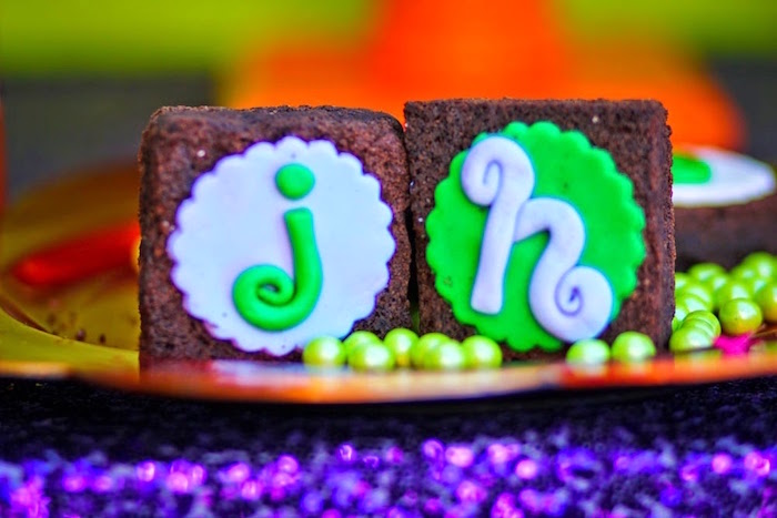 Brownies From A Joker Inspired Mad Love Birthday Party Via Karas Ideas