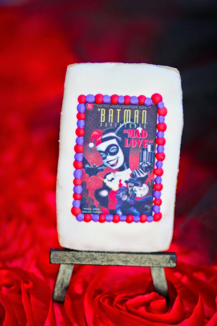 Cookie from a Joker Inspired Mad Love Birthday Party via Kara's Party Ideas | KarasPartyIdeas.com - The Place for All Things Party! (46)