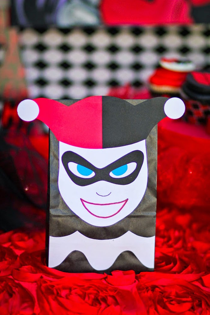 Harley Quinn favor sack from a Joker Inspired Mad Love Birthday Party via Kara's Party Ideas | KarasPartyIdeas.com - The Place for All Things Party! (44)