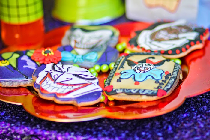 Cookies from a Joker Inspired Mad Love Birthday Party via Kara's Party Ideas | KarasPartyIdeas.com - The Place for All Things Party! (43)