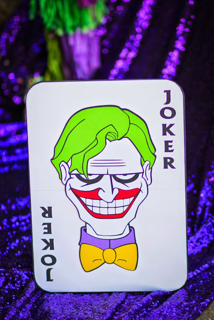 Joker Art Calling Card From A Inspired Mad Love Birthday Party