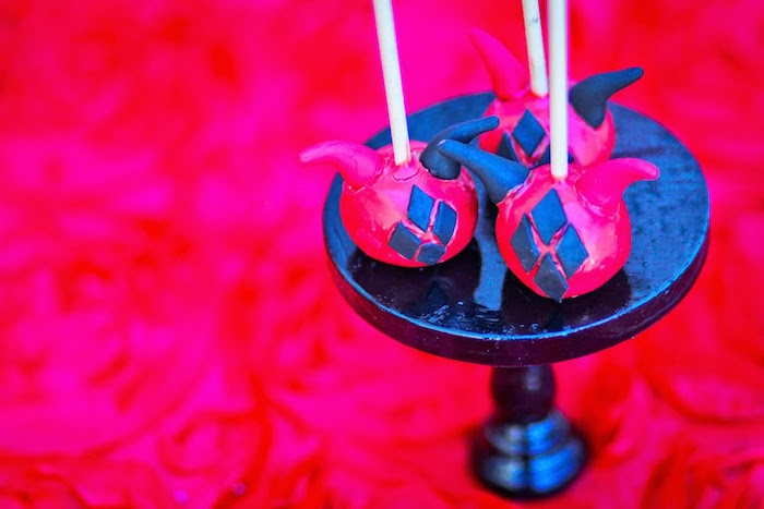 Cake pops from a Joker Inspired Mad Love Birthday Party via Kara's Party Ideas | KarasPartyIdeas.com - The Place for All Things Party! (39)