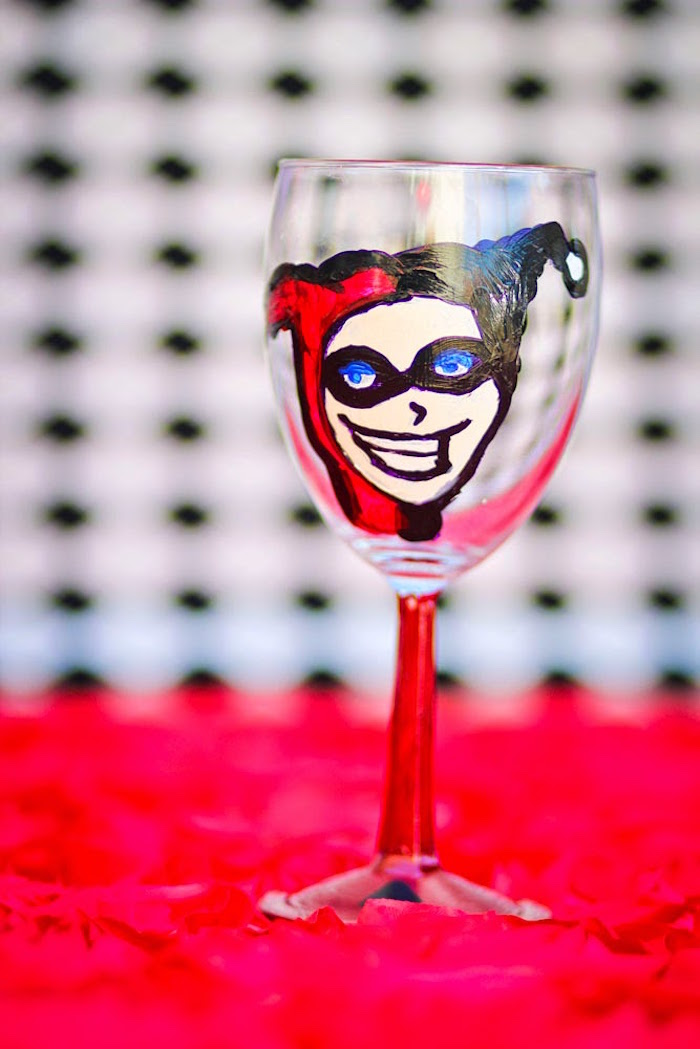 Drink glass from a Joker Inspired Mad Love Birthday Party via Kara's Party Ideas | KarasPartyIdeas.com - The Place for All Things Party! (38)