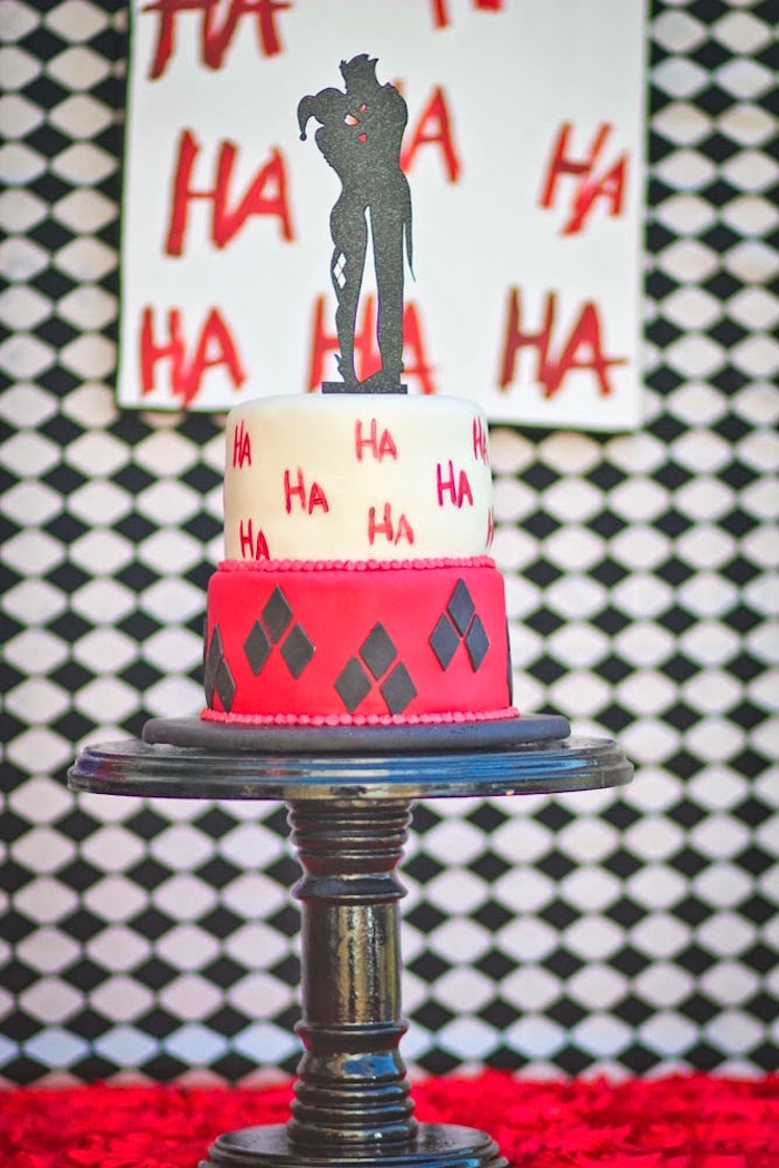Cake from a Joker Inspired Mad Love Birthday Party via Kara's Party Ideas | KarasPartyIdeas.com - The Place for All Things Party! (37)