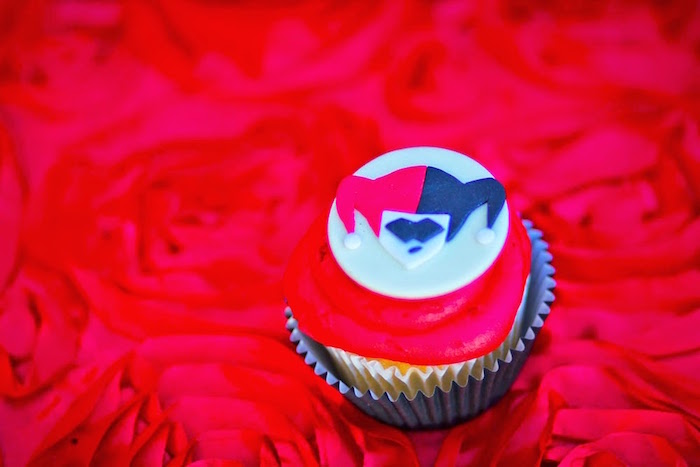 Cupcake from a Joker Inspired Mad Love Birthday Party via Kara's Party Ideas | KarasPartyIdeas.com - The Place for All Things Party! (32)