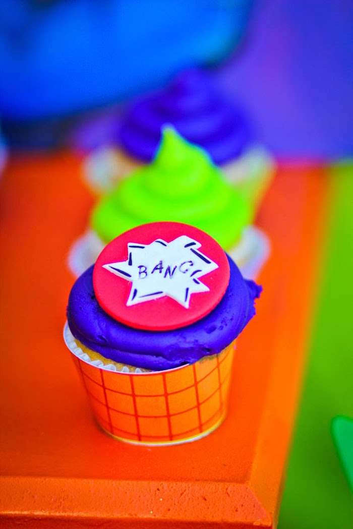 Cupcake from a Joker Inspired Mad Love Birthday Party via Kara's Party Ideas | KarasPartyIdeas.com - The Place for All Things Party! (66)