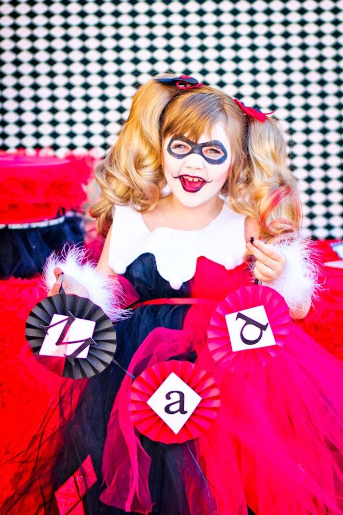 Harley Quinn from a Joker Inspired Mad Love Birthday Party via Kara's Party Ideas | KarasPartyIdeas.com - The Place for All Things Party! (17)