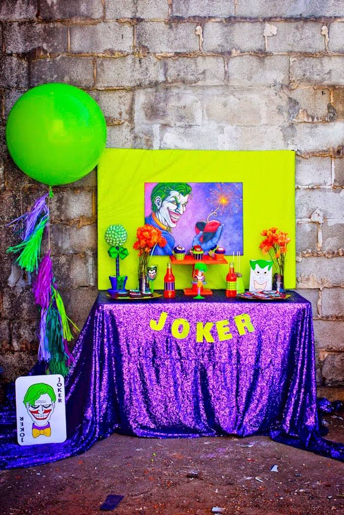 Joker dessert table from a Joker Inspired Mad Love Birthday Party via Kara's Party Ideas | KarasPartyIdeas.com - The Place for All Things Party! (8)