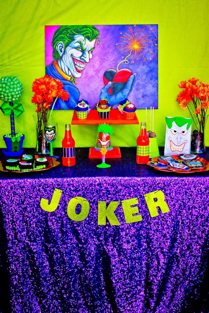 Joker dessert table details from a Joker Inspired Mad Love Birthday Party via Kara's Party Ideas | KarasPartyIdeas.com - The Place for All Things Party! (7)