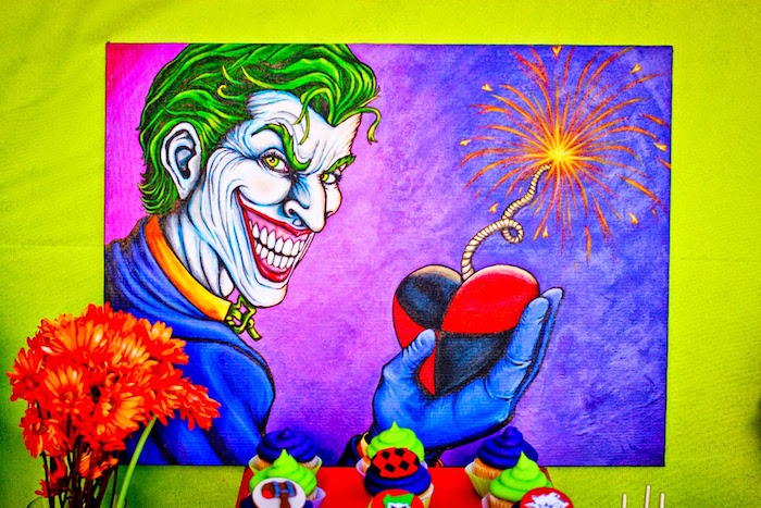 Custom Joker art piece from a Joker Inspired Mad Love Birthday Party via Kara's Party Ideas | KarasPartyIdeas.com - The Place for All Things Party! (6)