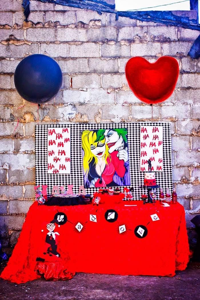 Harley Quinn Inspired Dessert Table From A Joker Mad Love Birthday Party Via Karas