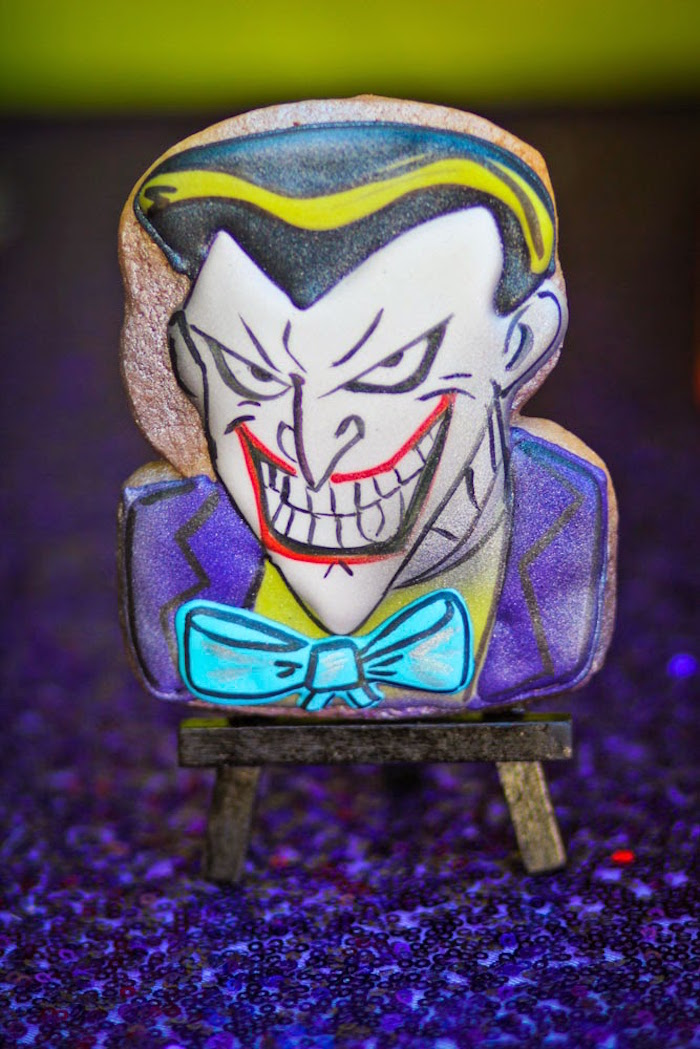 Joker Cookie from a Joker Inspired Mad Love Birthday Party via Kara's Party Ideas | KarasPartyIdeas.com - The Place for All Things Party! (63)