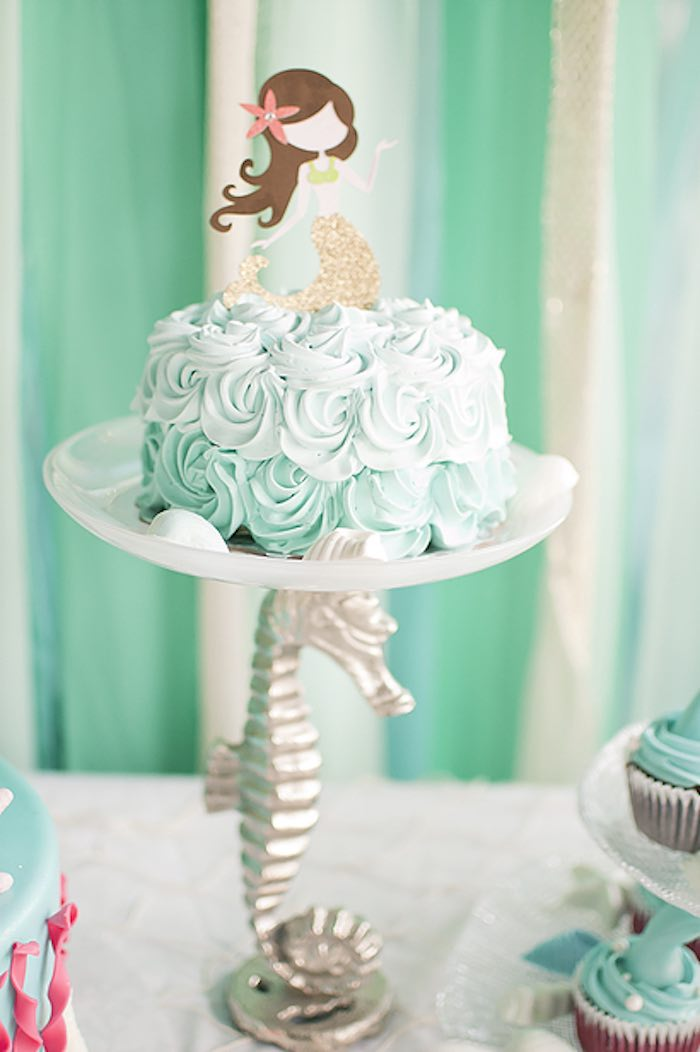 Rosette smash cake from a Littlest Mermaid 1st Birthday Party via Kara's Party Ideas | KarasPartyIdeas.com - The Place for All Things Party! (27)