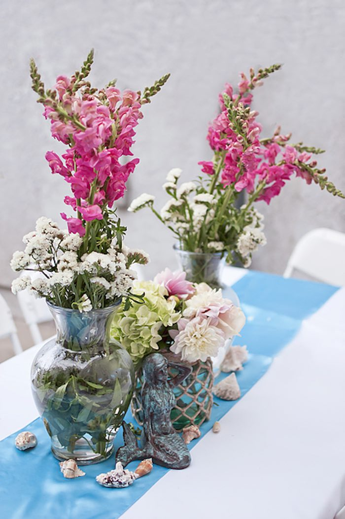 Guest tablescape from a Littlest Mermaid 1st Birthday Party via Kara's Party Ideas | KarasPartyIdeas.com - The Place for All Things Party! (24)