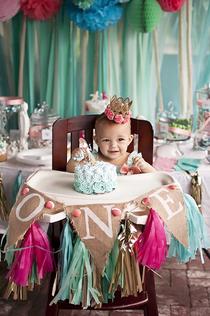 Cake time from a Littlest Mermaid 1st Birthday Party via Kara's Party Ideas | KarasPartyIdeas.com - The Place for All Things Party! (23)