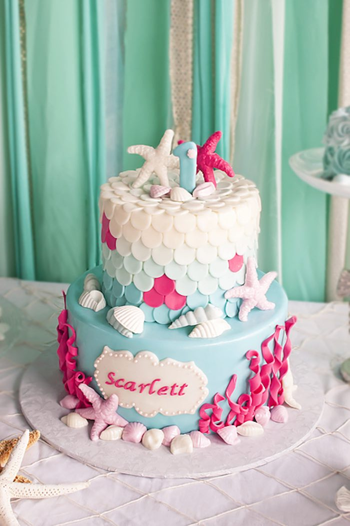 Under the sea Mermaid cake from a Littlest Mermaid 1st Birthday Party via Kara's Party Ideas | KarasPartyIdeas.com - The Place for All Things Party! (22)