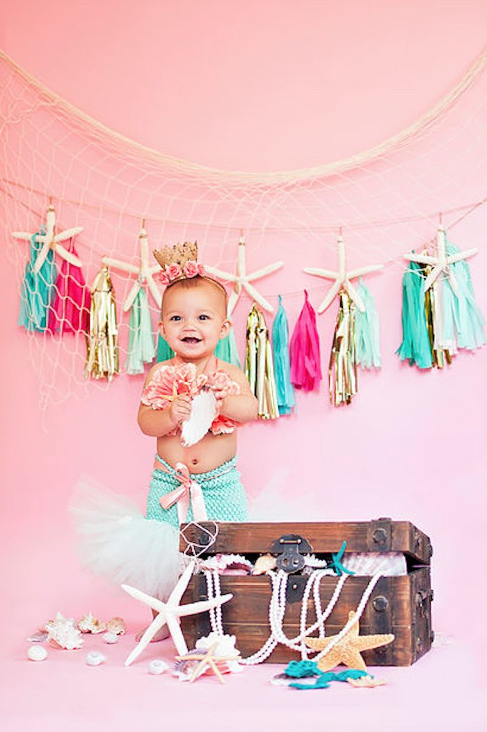 Such an adorable Mermaid from a Littlest Mermaid 1st Birthday Party via Kara's Party Ideas | KarasPartyIdeas.com - The Place for All Things Party! (19)