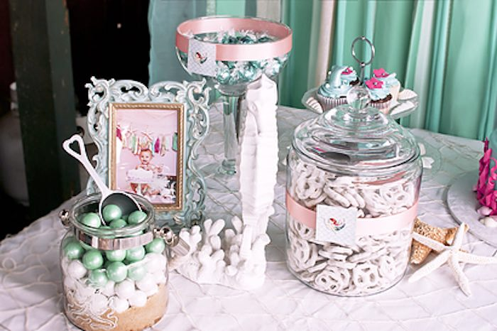 Snacks + sweets + decor from a Littlest Mermaid 1st Birthday Party via Kara's Party Ideas | KarasPartyIdeas.com - The Place for All Things Party! (18)