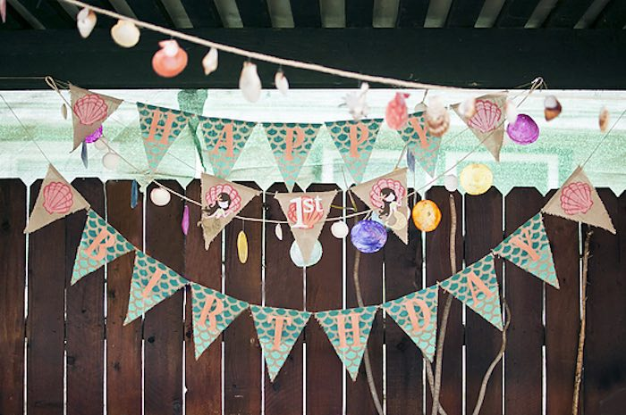 Mermaid-inspired banner + bunting from aLittlest Mermaid 1st Birthday Party via Kara's Party Ideas | KarasPartyIdeas.com - The Place for All Things Party! (14)