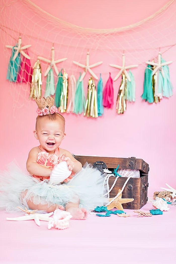 The cutest little mermaid from a Littlest Mermaid 1st Birthday Party via Kara's Party Ideas | KarasPartyIdeas.com - The Place for All Things Party! (12)