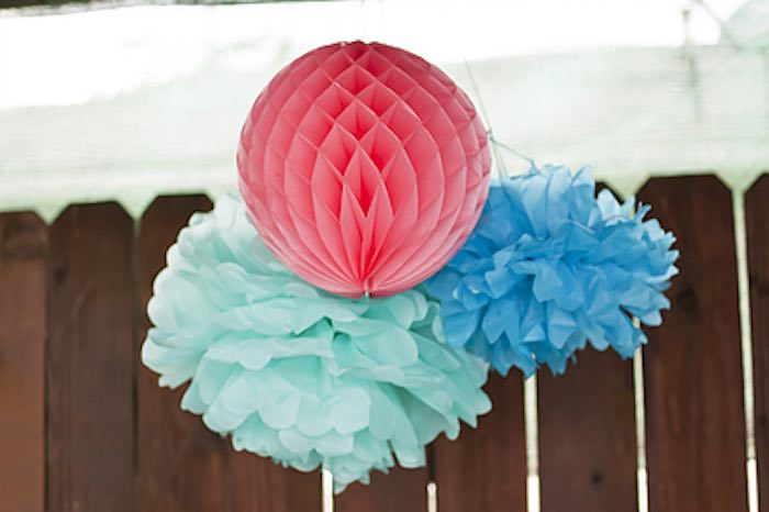 Tissue decorations + bunting from a Littlest Mermaid 1st Birthday Party via Kara's Party Ideas | KarasPartyIdeas.com - The Place for All Things Party! (10)