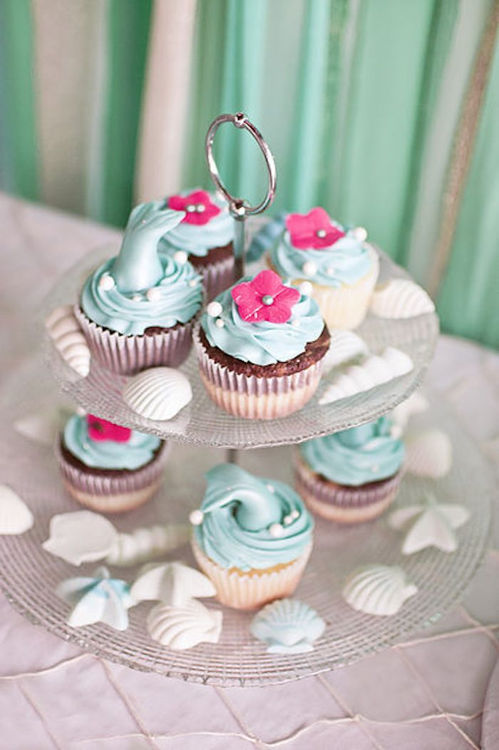 Cupcakes from a Littlest Mermaid 1st Birthday Party via Kara's Party Ideas | KarasPartyIdeas.com - The Place for All Things Party! (9)