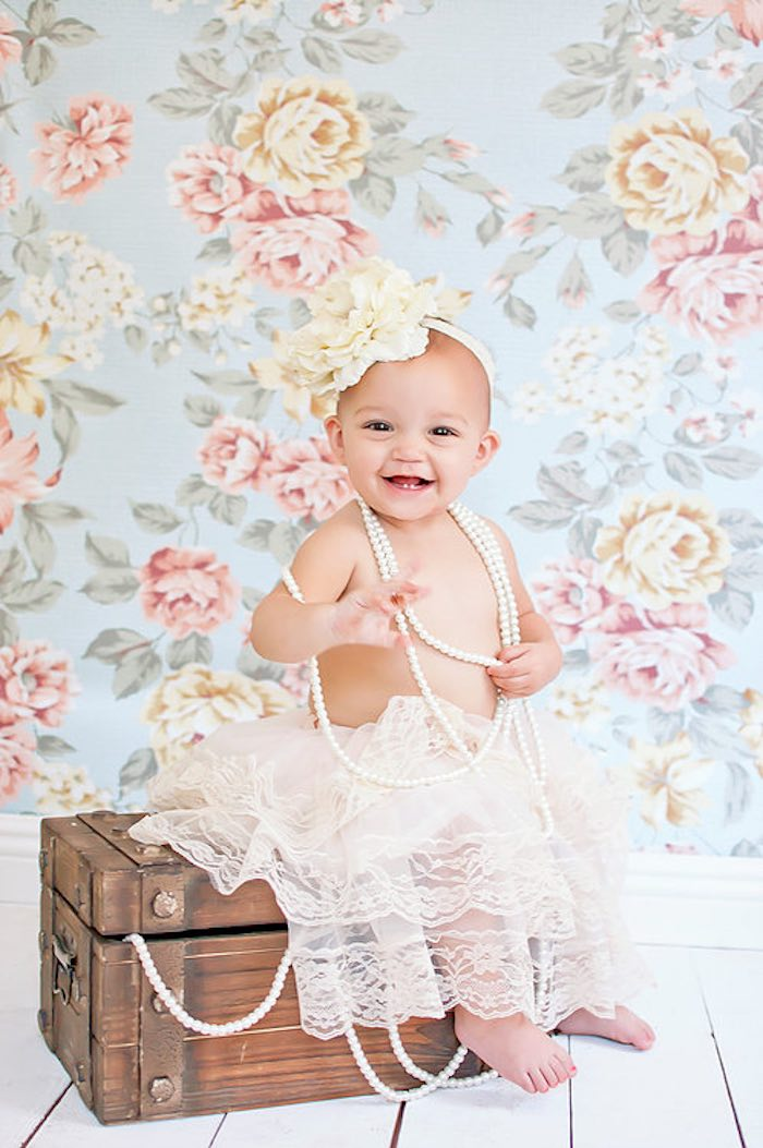Cutest little birthday girl from a Littlest Mermaid 1st Birthday Party via Kara's Party Ideas | KarasPartyIdeas.com - The Place for All Things Party! (7)