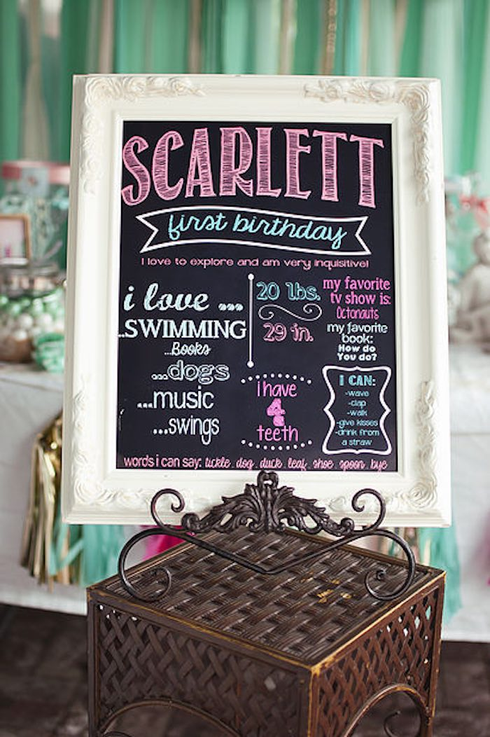 Chalkboard sign from a Littlest Mermaid 1st Birthday Party via Kara's Party Ideas | KarasPartyIdeas.com - The Place for All Things Party! (6)