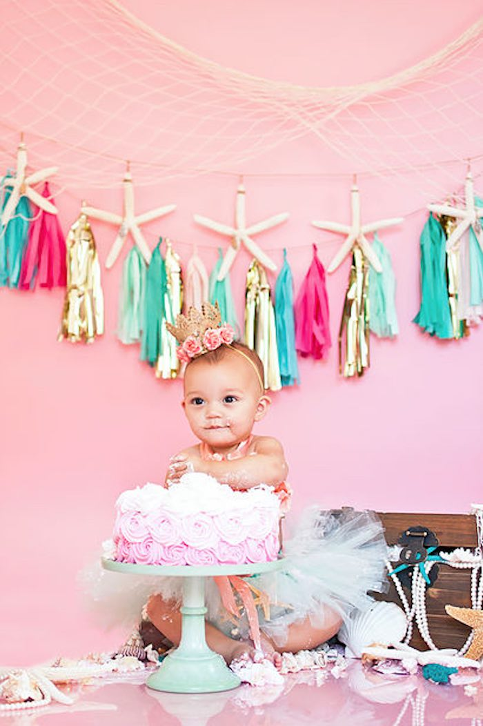 Littlest Mermaid smash cake photo shoot from a Littlest Mermaid 1st Birthday Party via Kara's Party Ideas | KarasPartyIdeas.com - The Place for All Things Party! (5)