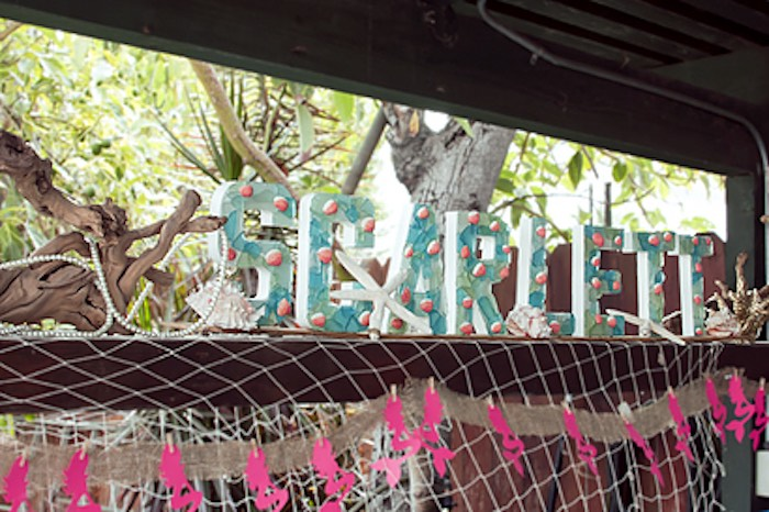 Letter name banner from a Littlest Mermaid 1st Birthday Party via Kara's Party Ideas | KarasPartyIdeas.com - The Place for All Things Party! (4)