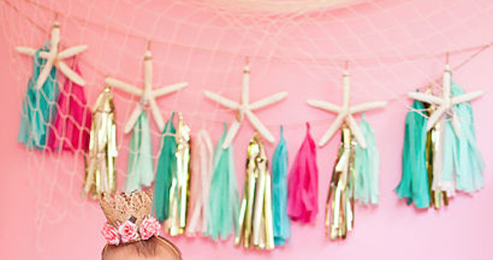 Bunting from a Littlest Mermaid 1st Birthday Party via Kara's Party Ideas | KarasPartyIdeas.com - The Place for All Things Party! (1)