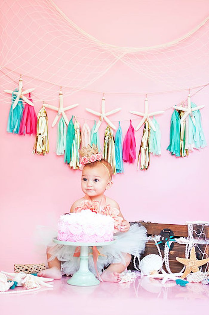 Smash cake 1st birthday Mermaid photo shoot for a Littlest Mermaid 1st Birthday Party via Kara's Party Ideas | KarasPartyIdeas.com - The Place for All Things Party! (33)