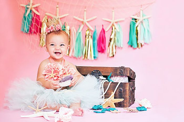 Littlest Mermaid 1st Birthday Photo Shoot from a Littlest Mermaid 1st Birthday Party via Kara's Party Ideas | KarasPartyIdeas.com - The Place for All Things Party! (32)