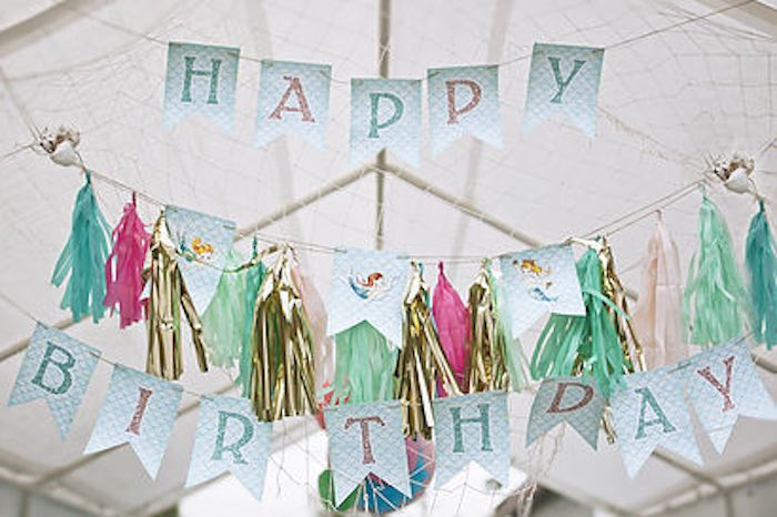 Bunting from a Littlest Mermaid 1st Birthday Party via Kara's Party Ideas | KarasPartyIdeas.com - The Place for All Things Party! (31)