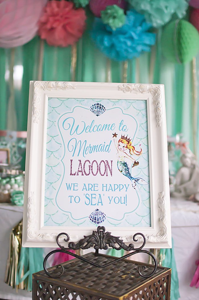 Mermaid lagoon entrance sign from a Littlest Mermaid 1st Birthday Party via Kara's Party Ideas | KarasPartyIdeas.com - The Place for All Things Party! (29)