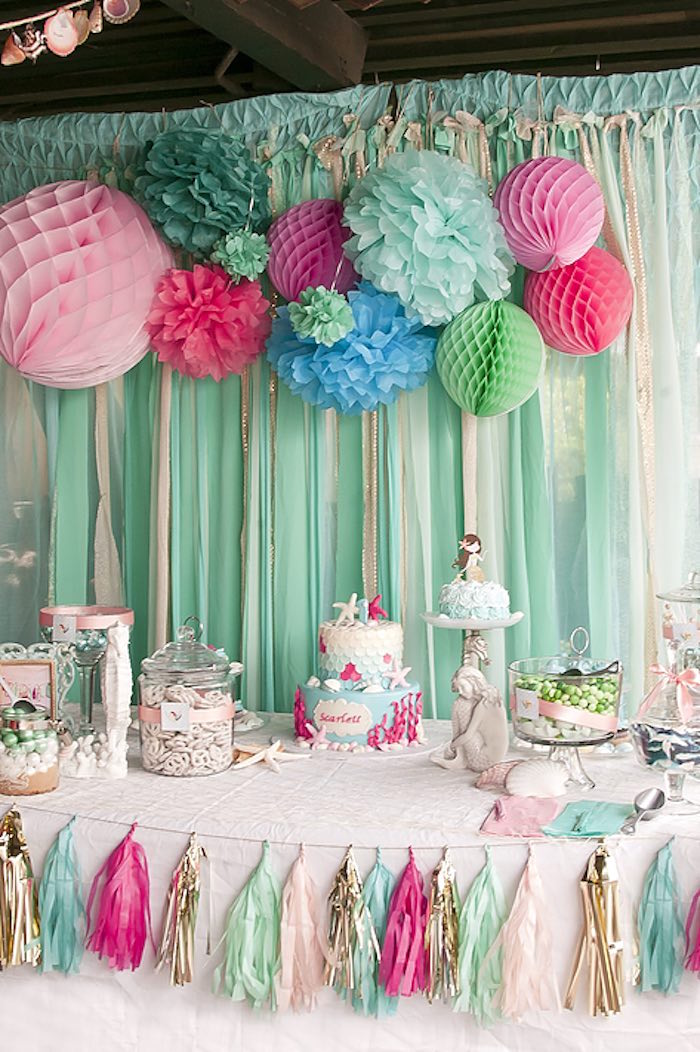 An Enchantingly Gorgeous Dessert Table From A Littlest Mermaid 1st Birthday Party Via Karas Ideas