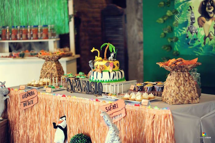 Head party table from a Madagascar Jungle Safari Birthday Party via Kara's Party Ideas KarasPartyIdeas.com (18)