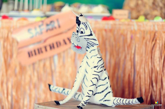 Marty the zebra decoration from a Madagascar Jungle Safari Birthday Party via Kara's Party Ideas KarasPartyIdeas.com (17)